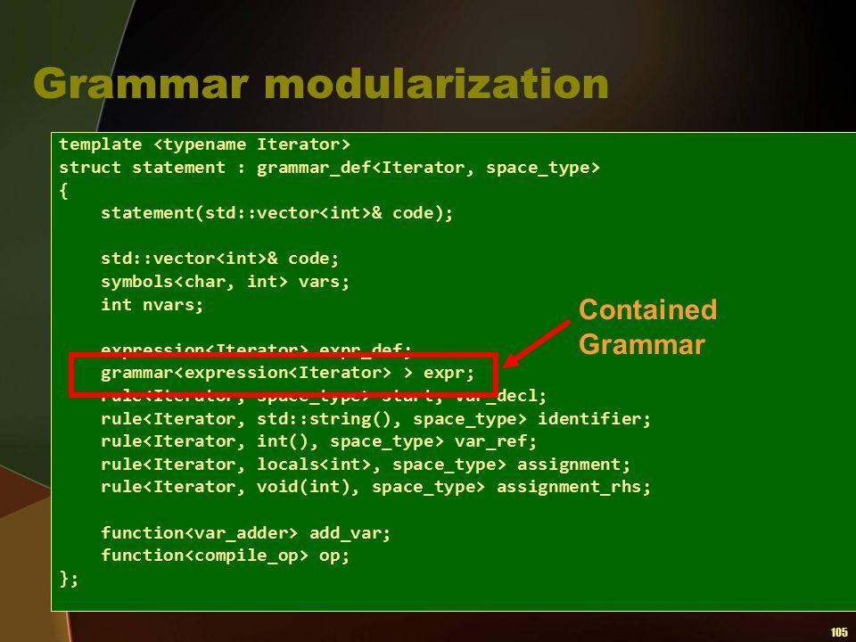 105 Grammar modularization template struct statement : grammar_def { statement(std::vector & code); std::vector & code; symbols vars; int nvars; expre