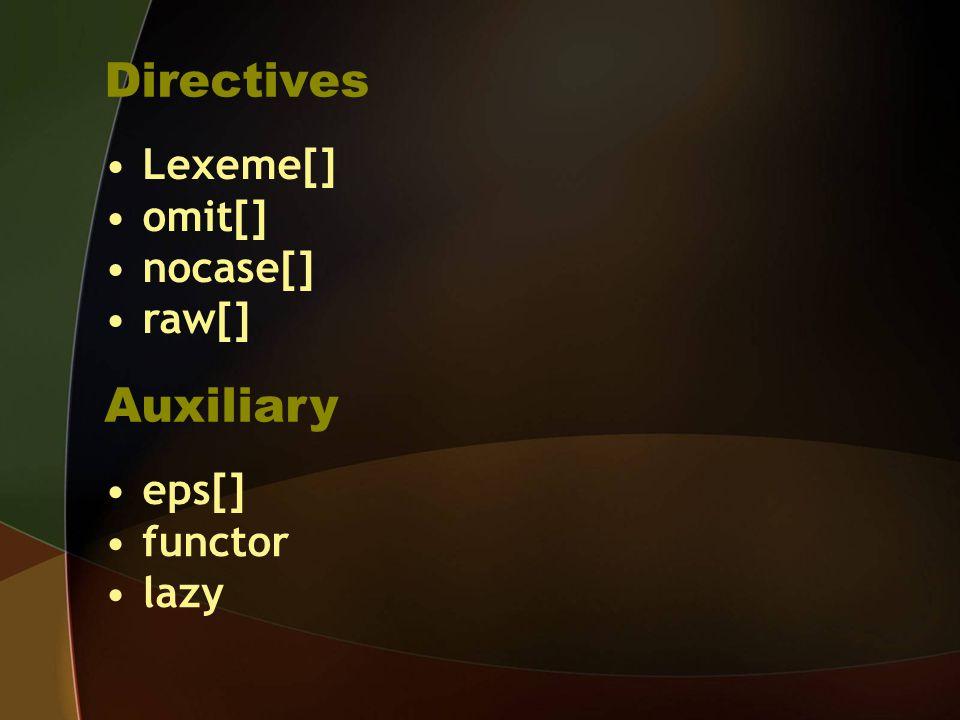 Directives Lexeme[] omit[] nocase[] raw[] Auxiliary eps[] functor lazy