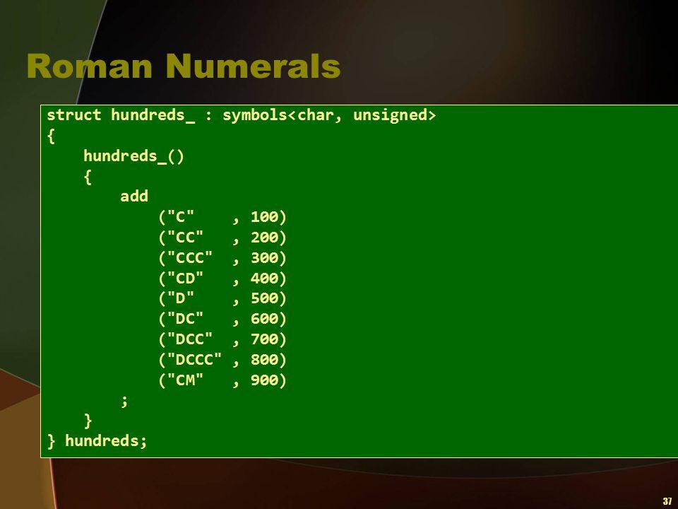37 Roman Numerals struct hundreds_ : symbols { hundreds_() { add (