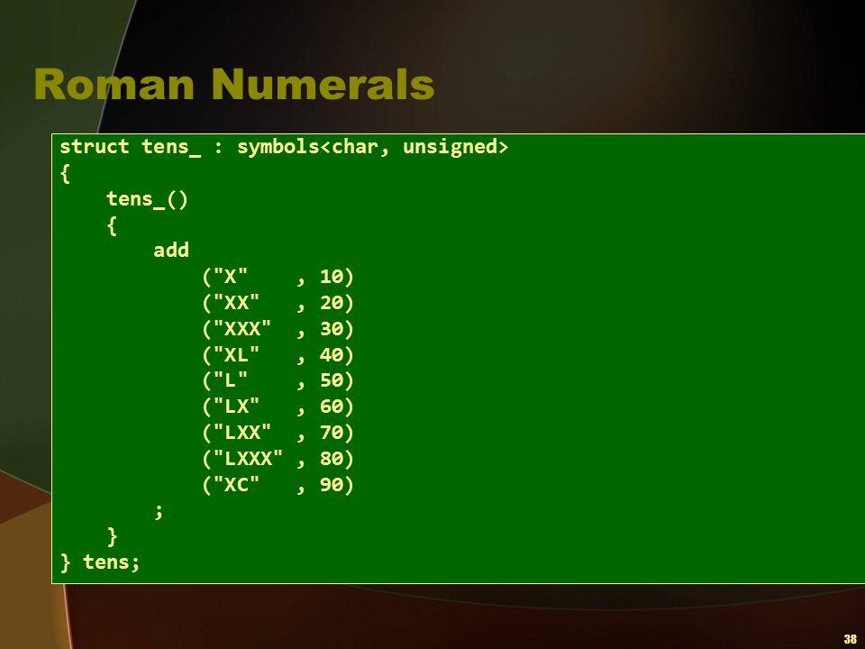 38 Roman Numerals struct tens_ : symbols { tens_() { add (