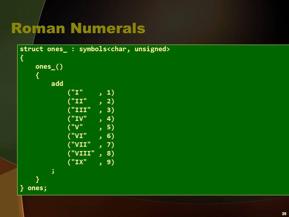 39 Roman Numerals struct ones_ : symbols { ones_() { add (