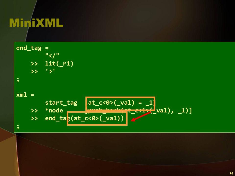 47 MiniXML end_tag =