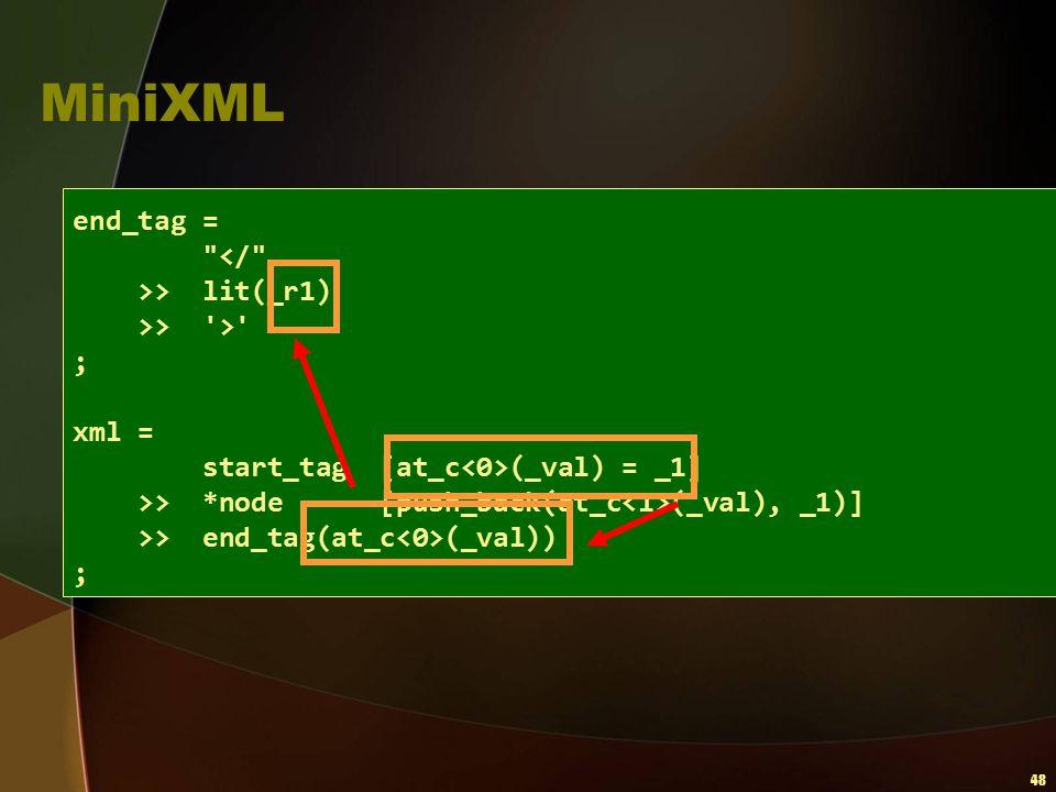 48 MiniXML end_tag =