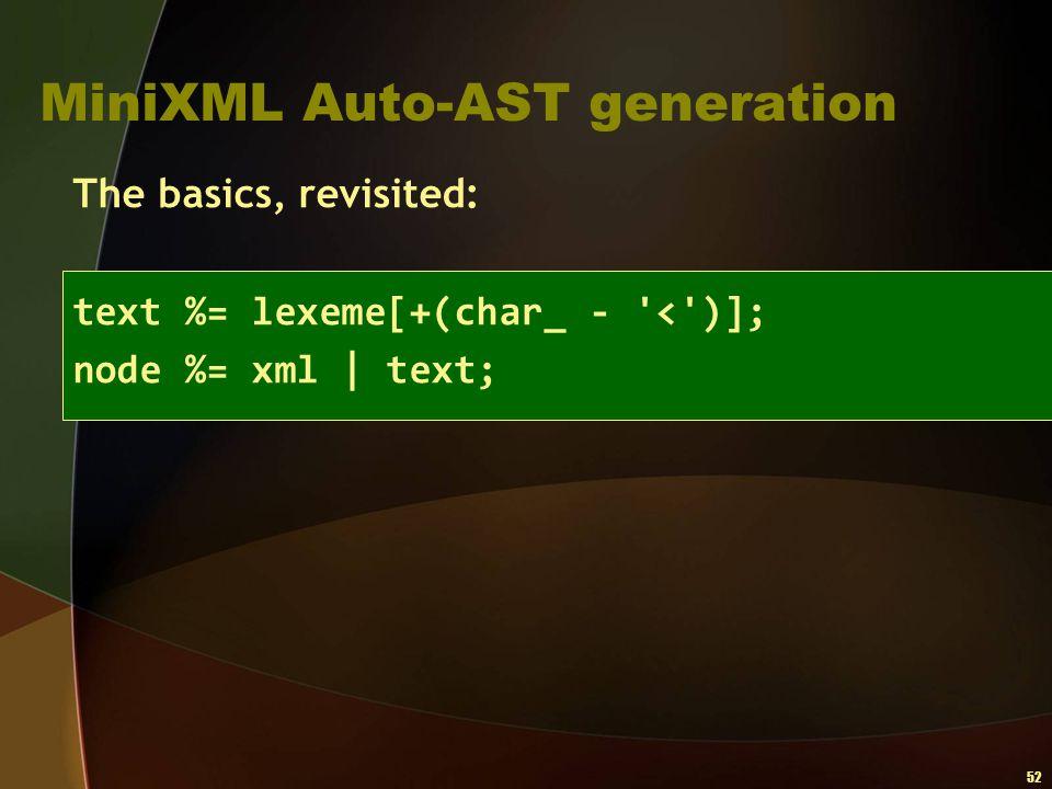 52 MiniXML Auto-AST generation The basics, revisited: text %= lexeme[+(char_ - '<')]; node %= xml   text;