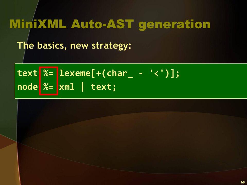 53 MiniXML Auto-AST generation The basics, new strategy: text %= lexeme[+(char_ - '<')]; node %= xml   text;