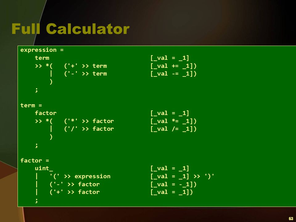 63 Full Calculator expression = term [_val = _1] >> *( ('+' >> term [_val += _1])   ('-' >> term [_val -= _1]) ) ; term = factor [_val = _1] >> *( ('*