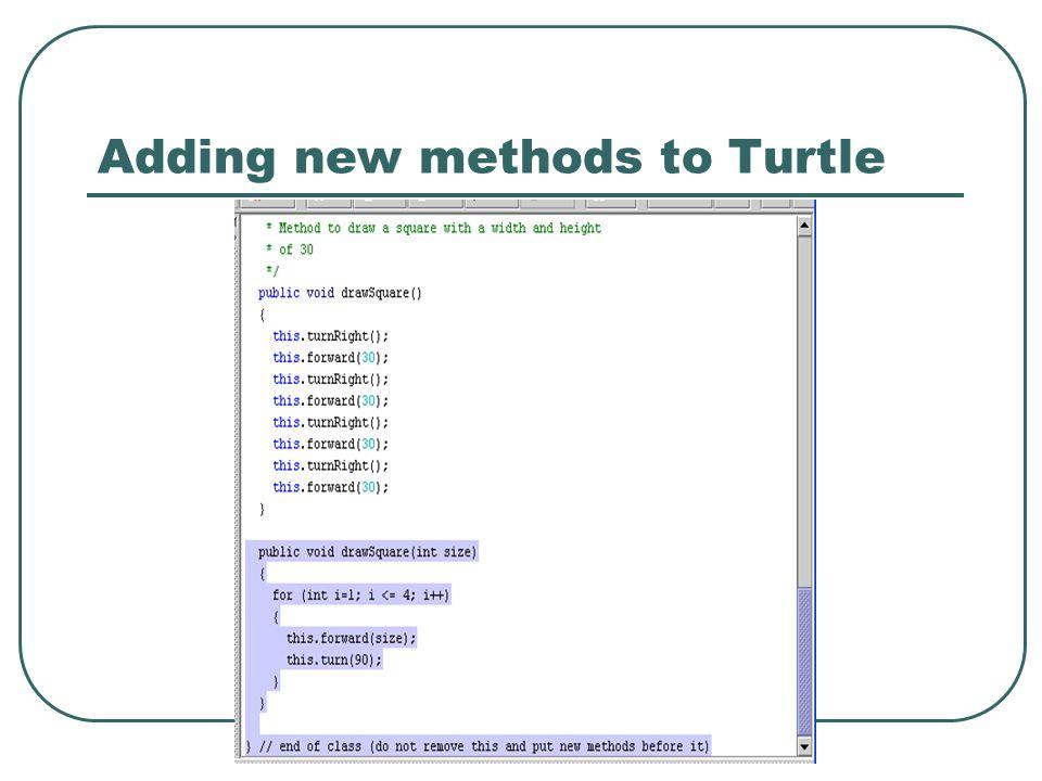 Adding new methods to Turtle
