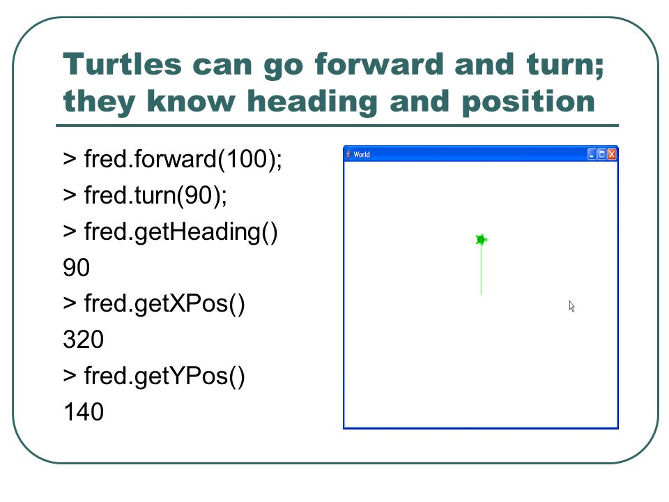 Turtles can go forward and turn; they know heading and position > fred.forward(100); > fred.turn(90); > fred.getHeading() 90 > fred.getXPos() 320 > fred.getYPos() 140