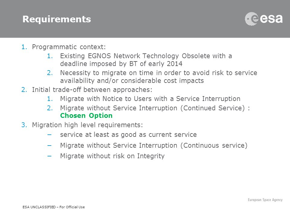 D/NAV/ER | Slide 12 ESA UNCLASSIFIED – For Official Use Requirements 1.Programmatic context: 1.Existing EGNOS Network Technology Obsolete with a deadl