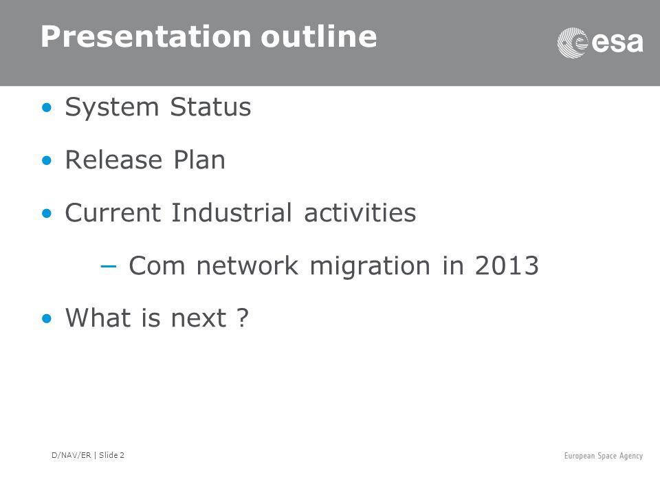 D/NAV/ER | Slide 2 Presentation outline System Status Release Plan Current Industrial activities −Com network migration in 2013 What is next ?