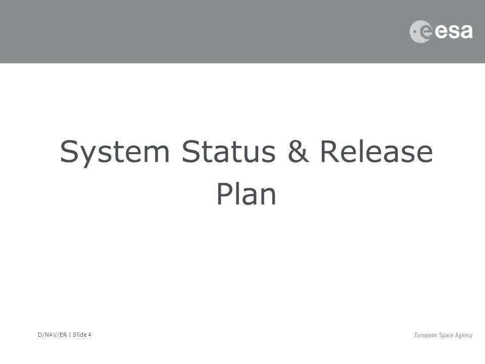 D/NAV/ER | Slide 4 System Status & Release Plan