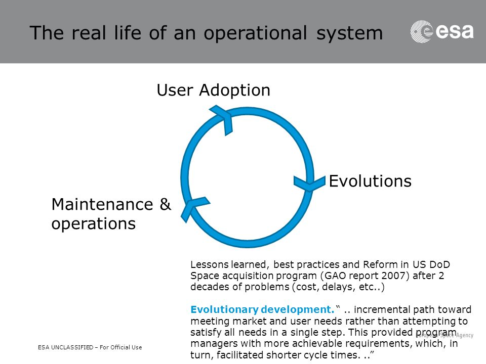 ESA UNCLASSIFIED – For Official Use User Adoption Evolutions Maintenance & operations The real life of an operational system Lessons learned, best pra
