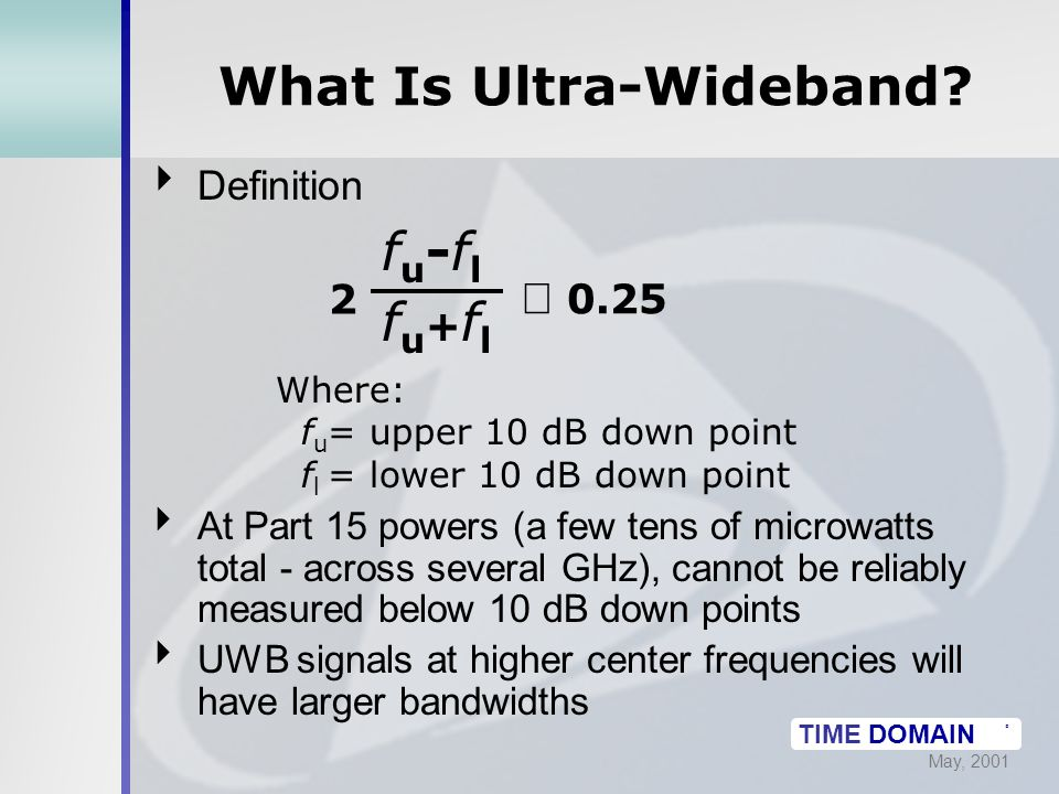 May, 2001 TIME DOMAIN ® What Is Ultra-Wideband.