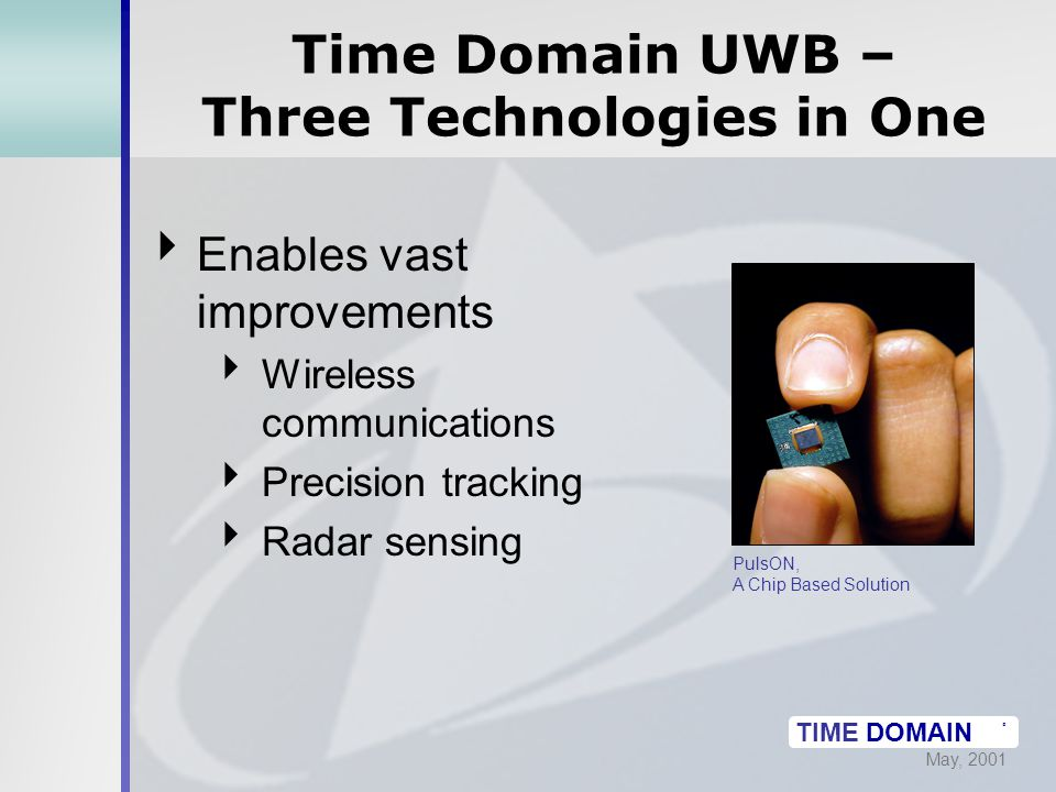 May, 2001 TIME DOMAIN ® Time Domain UWB – Three Technologies in One  Enables vast improvements  Wireless communications  Precision tracking  Radar sensing PulsON, A Chip Based Solution