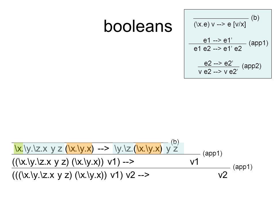 booleans \x.\y.\z.x y z (\x.\y.x) --> \y.\z.(\x.\y.x) y z ((\x.\y.\z.x y z) (\x.\y.x)) v1) --> v1 (((\x.\y.\z.x y z) (\x.\y.x)) v1) v2 --> v2 e1 --> e1' e1 e2 --> e1' e2 e2 --> e2' v e2 --> v e2' (\x.e) v --> e [v/x] (b) (app1) (app2) (app1) (b)