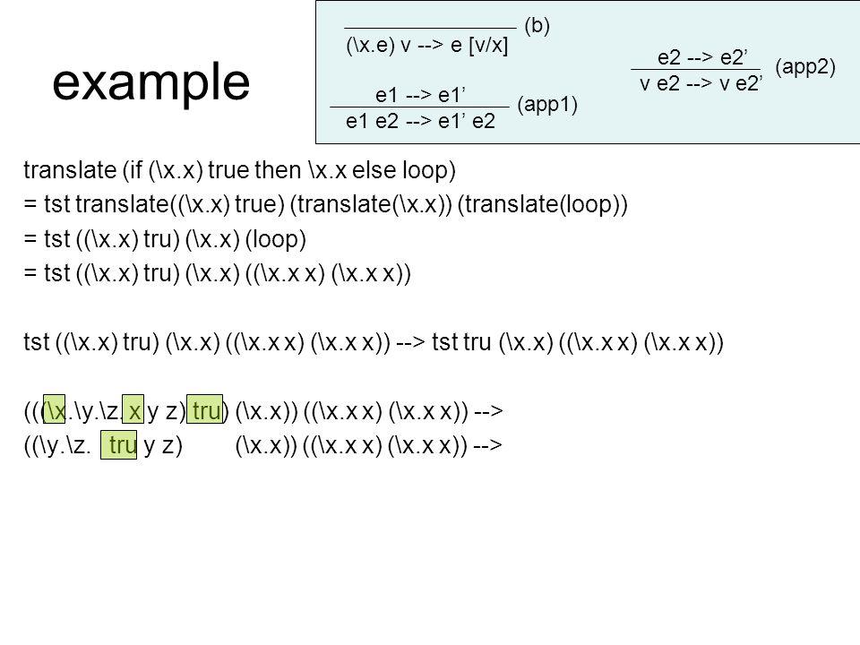 example translate (if (\x.x) true then \x.x else loop) = tst translate((\x.x) true) (translate(\x.x)) (translate(loop)) = tst ((\x.x) tru) (\x.x) (loop) = tst ((\x.x) tru) (\x.x) ((\x.x x) (\x.x x)) tst ((\x.x) tru) (\x.x) ((\x.x x) (\x.x x)) --> tst tru (\x.x) ((\x.x x) (\x.x x)) (((\x.\y.\z.