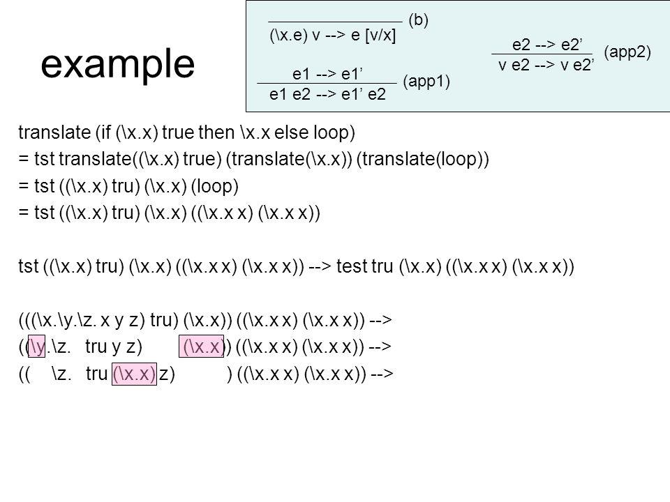 example translate (if (\x.x) true then \x.x else loop) = tst translate((\x.x) true) (translate(\x.x)) (translate(loop)) = tst ((\x.x) tru) (\x.x) (loop) = tst ((\x.x) tru) (\x.x) ((\x.x x) (\x.x x)) tst ((\x.x) tru) (\x.x) ((\x.x x) (\x.x x)) --> test tru (\x.x) ((\x.x x) (\x.x x)) (((\x.\y.\z.