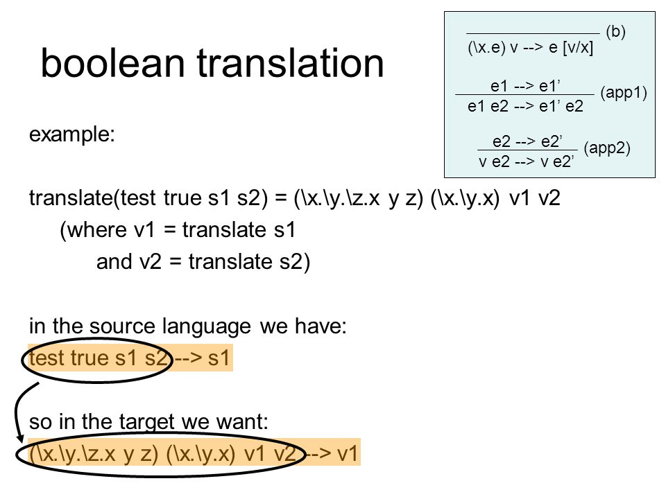 boolean translation example: translate(test true s1 s2) = (\x.\y.\z.x y z) (\x.\y.x) v1 v2 (where v1 = translate s1 and v2 = translate s2) in the sour
