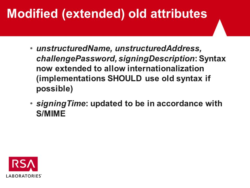 Modified (extended) old attributes unstructuredName, unstructuredAddress, challengePassword, signingDescription: Syntax now extended to allow internationalization (implementations SHOULD use old syntax if possible) signingTime: updated to be in accordance with S/MIME