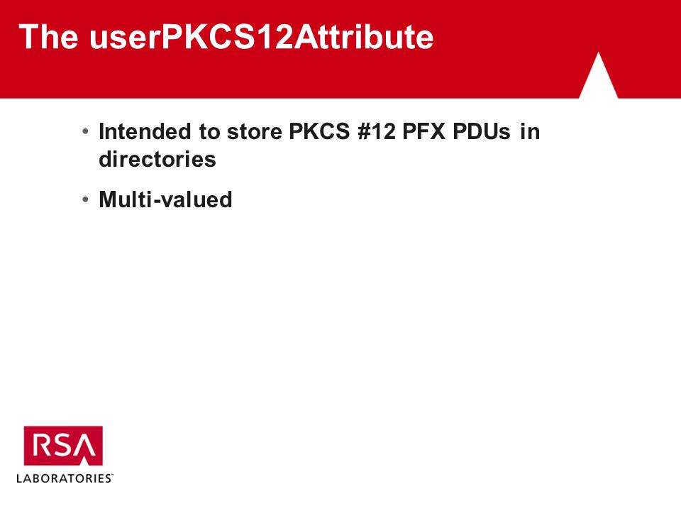The userPKCS12Attribute Intended to store PKCS #12 PFX PDUs in directories Multi-valued