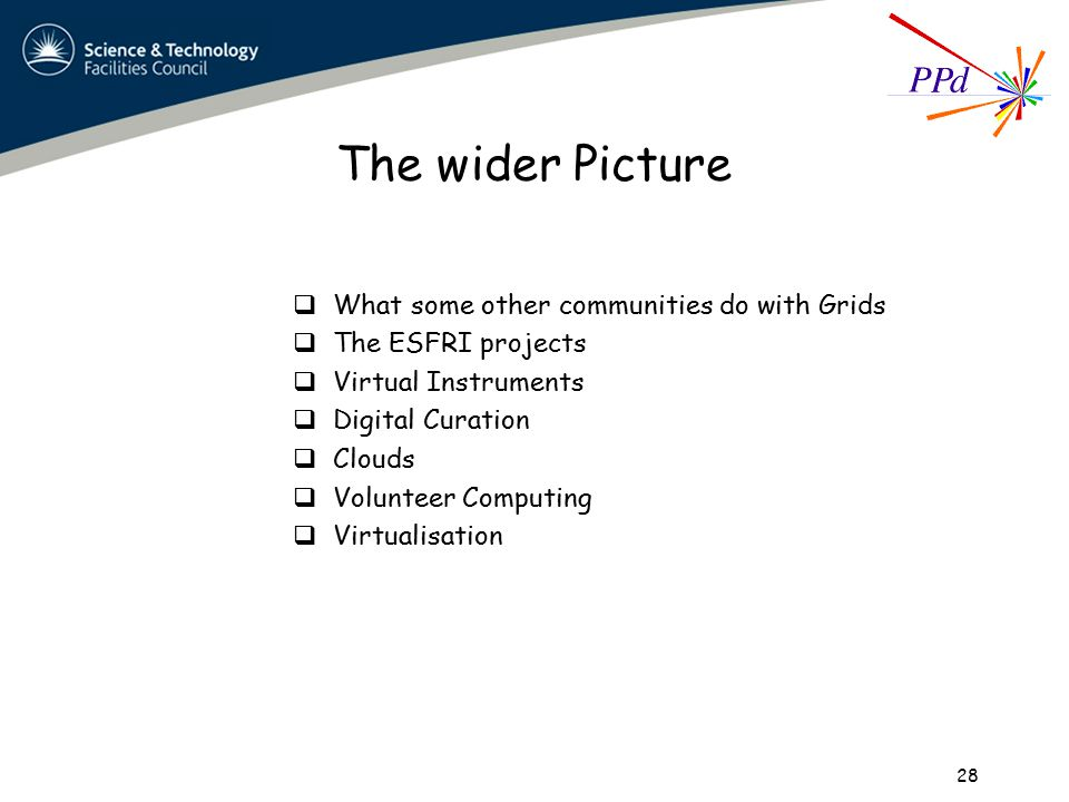 The wider Picture  What some other communities do with Grids  The ESFRI projects  Virtual Instruments  Digital Curation  Clouds  Volunteer Computing  Virtualisation 28