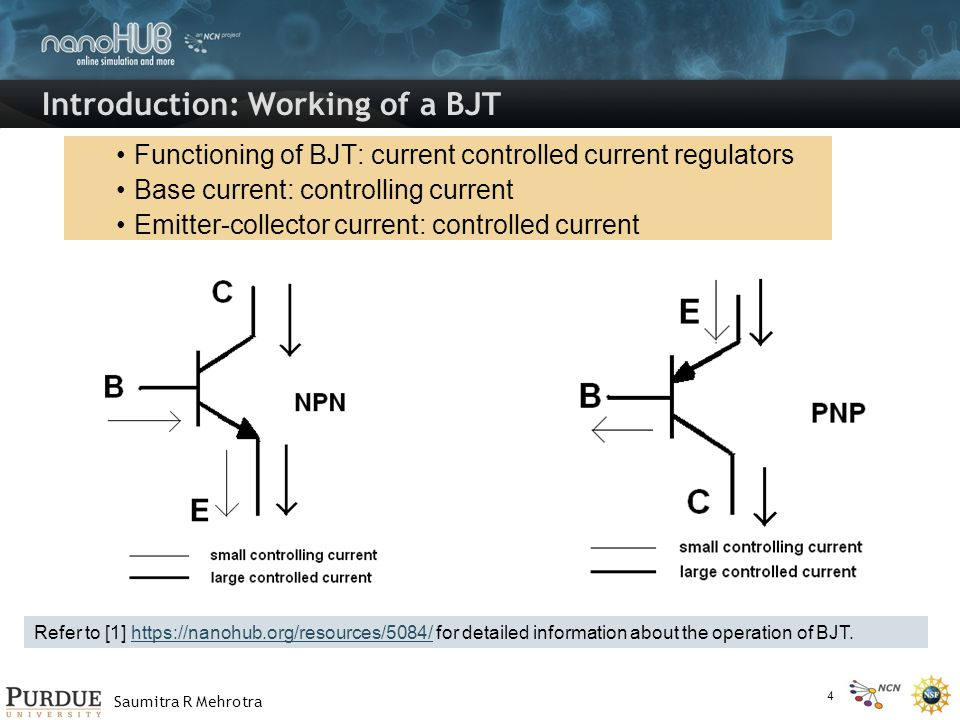 Saumitra R Mehrotra Introduction: Working of a BJT Functioning of BJT: current controlled current regulators Base current: controlling current Emitter-collector current: controlled current Refer to [1] https://nanohub.org/resources/5084/ for detailed information about the operation of BJT.https://nanohub.org/resources/5084/ 4