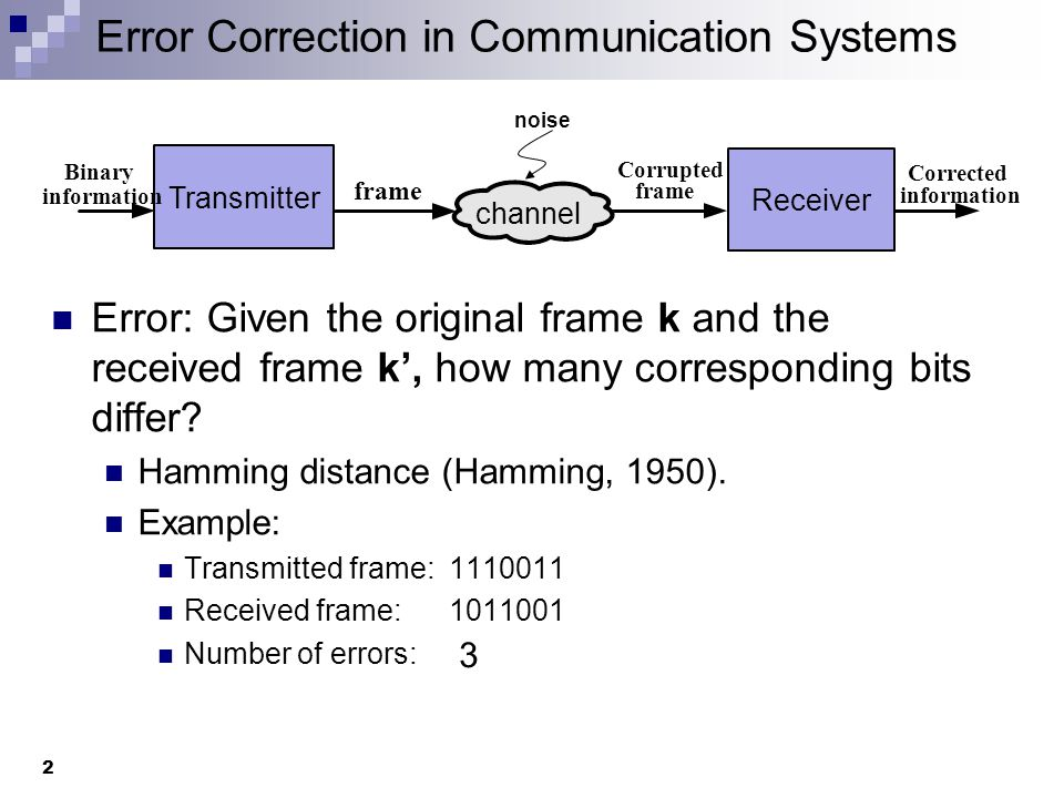 Error Correction in Communication Systems 2 Error: Given the original frame k and the received frame k', how many corresponding bits differ.