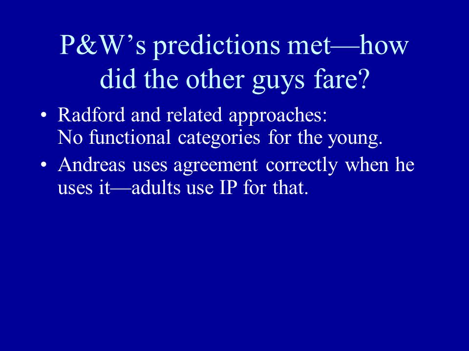 P&W's predictions met—how did the other guys fare.