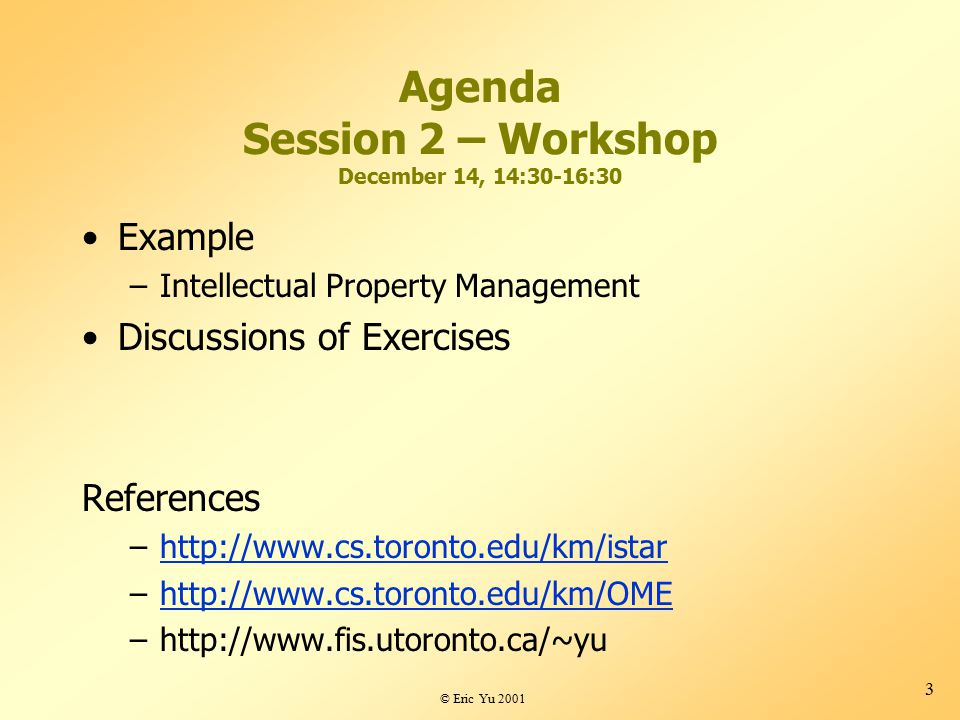 © Eric Yu 2001 3 Agenda Session 2 – Workshop December 14, 14:30-16:30 Example –Intellectual Property Management Discussions of Exercises References –http://www.cs.toronto.edu/km/istarhttp://www.cs.toronto.edu/km/istar –http://www.cs.toronto.edu/km/OMEhttp://www.cs.toronto.edu/km/OME –http://www.fis.utoronto.ca/~yu