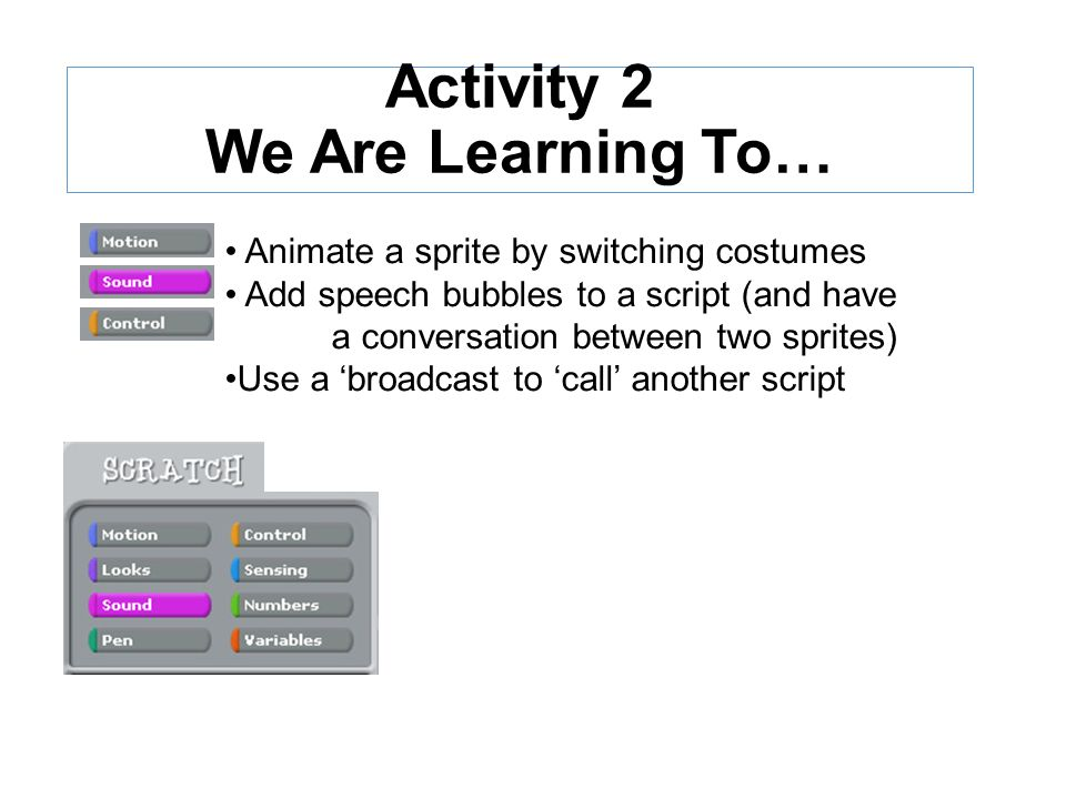 Michael Parkes Dudley LA Activity 2 We Are Learning To… Animate a sprite by switching costumes Add speech bubbles to a script (and have a conversation between two sprites) Use a 'broadcast to 'call' another script