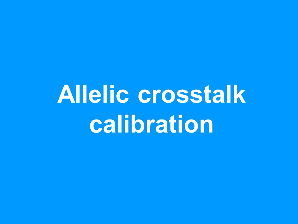 Crosstalk between alleles - adds significant artifacts to signals Cross-hybridization: Allele A: TCGGTAAGTACTC Allele B: TCGGTATGTACTC AA * * * PM A >> PM B * * * * * * PM A ≈ PM B ABAB * * * * * * * PM A << PM B * * * BB