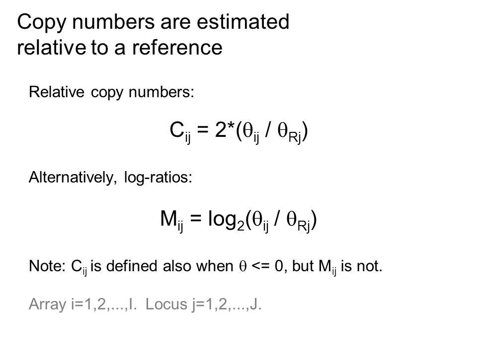 Relative copy numbers: C ij = 2*(  ij /  Rj ) Alternatively, log-ratios: M ij = log 2 (  ij /  Rj ) Note: C ij is defined also when  <= 0, but M ij is not.