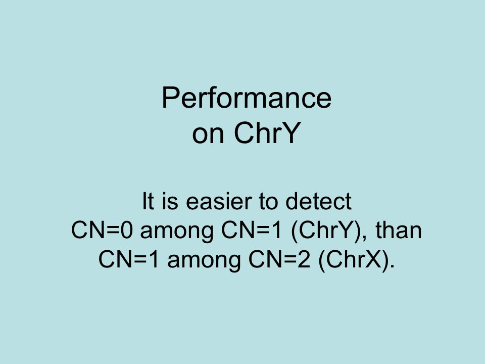 Performance on ChrY It is easier to detect CN=0 among CN=1 (ChrY), than CN=1 among CN=2 (ChrX).