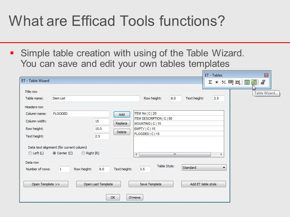 What are Efficad Tools functions.  Simple table creation with using of the Table Wizard.