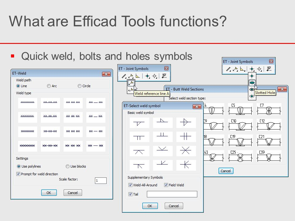   Quick weld, bolts and holes symbols What are Efficad Tools functions?