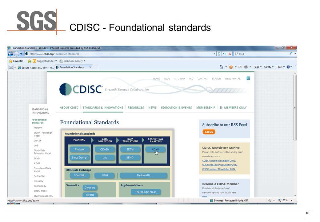 10 CDISC - Foundational standards