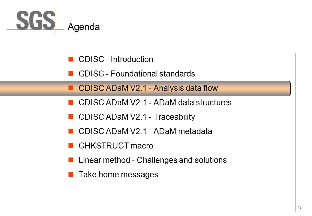 12 Agenda CDISC - Introduction CDISC - Foundational standards CDISC ADaM V2.1 - Analysis data flow CDISC ADaM V2.1 - ADaM data structures CDISC ADaM V2.1 - Traceability CDISC ADaM V2.1 - ADaM metadata CHKSTRUCT macro Linear method - Challenges and solutions Take home messages