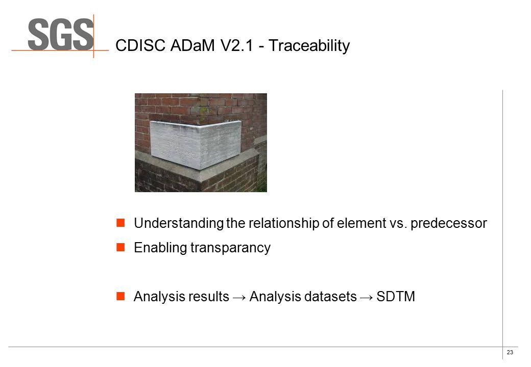 23 Understanding the relationship of element vs. predecessor Enabling transparancy Analysis results → Analysis datasets → SDTM CDISC ADaM V2.1 - Trace