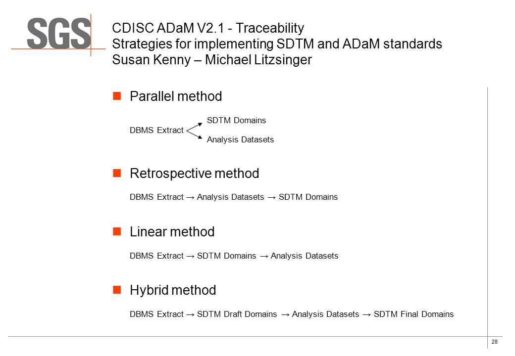 28 Parallel method SDTM Domains DBMS Extract Analysis Datasets Retrospective method DBMS Extract → Analysis Datasets → SDTM Domains Linear method DBMS