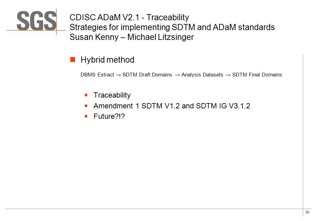 30 Hybrid method DBMS Extract → SDTM Draft Domains → Analysis Datasets → SDTM Final Domains  Traceability  Amendment 1 SDTM V1.2 and SDTM IG V3.1.2  Future !.