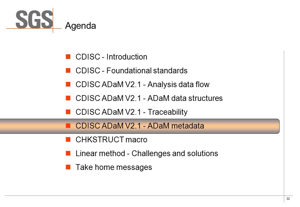 32 Agenda CDISC - Introduction CDISC - Foundational standards CDISC ADaM V2.1 - Analysis data flow CDISC ADaM V2.1 - ADaM data structures CDISC ADaM V