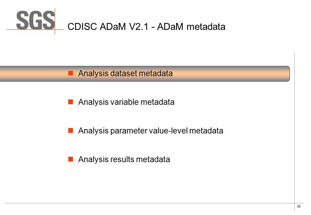 35 CDISC ADaM V2.1 - ADaM metadata Analysis dataset metadata Analysis variable metadata Analysis parameter value-level metadata Analysis results metad