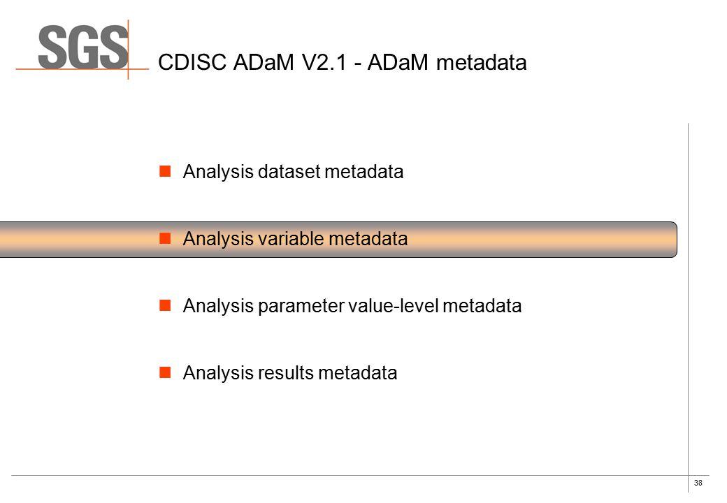 38 CDISC ADaM V2.1 - ADaM metadata Analysis dataset metadata Analysis variable metadata Analysis parameter value-level metadata Analysis results metadata