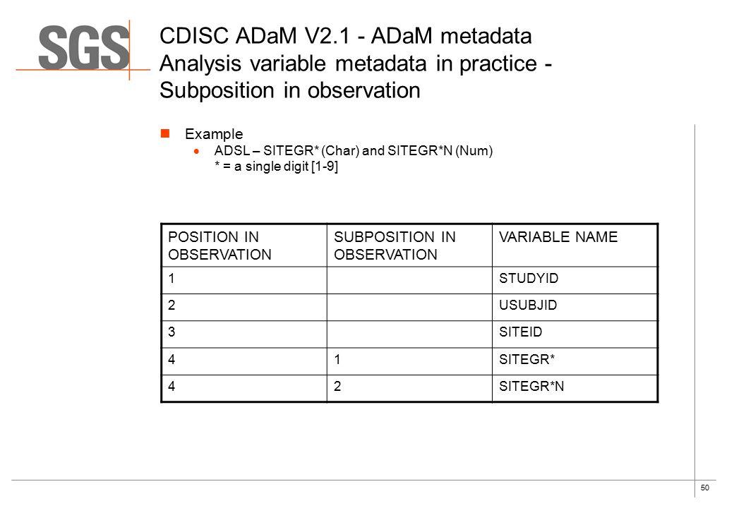 50 CDISC ADaM V2.1 - ADaM metadata Analysis variable metadata in practice - Subposition in observation Example  ADSL – SITEGR* (Char) and SITEGR*N (Num) * = a single digit [1-9] POSITION IN OBSERVATION SUBPOSITION IN OBSERVATION VARIABLE NAME 1STUDYID 2USUBJID 3SITEID 41SITEGR* 42SITEGR*N