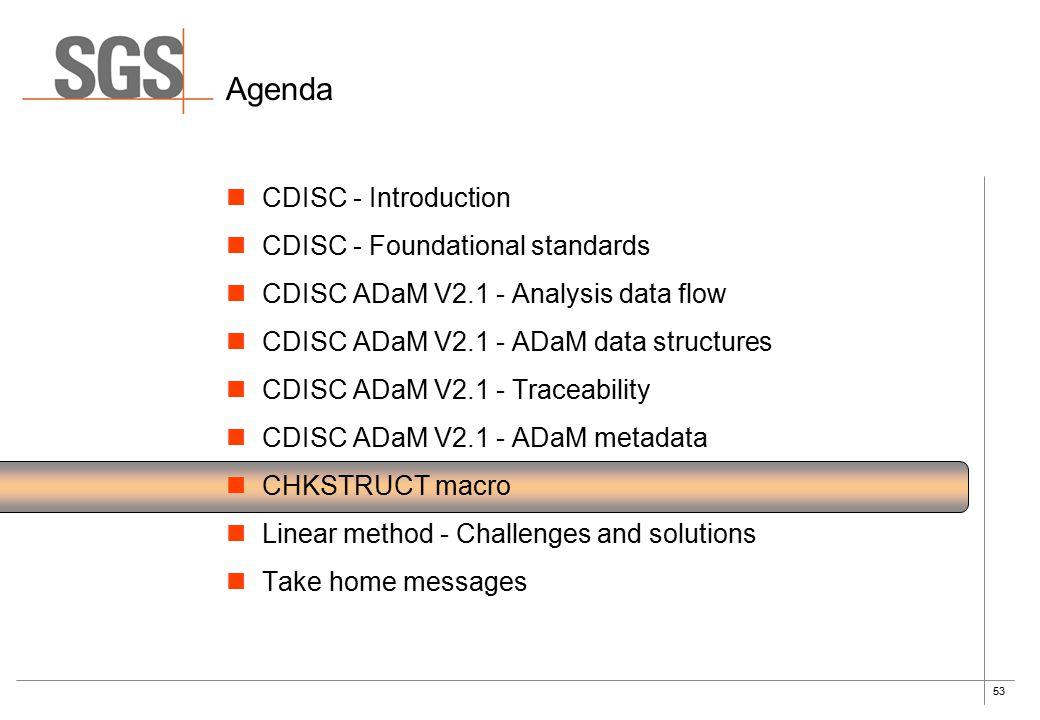 53 Agenda CDISC - Introduction CDISC - Foundational standards CDISC ADaM V2.1 - Analysis data flow CDISC ADaM V2.1 - ADaM data structures CDISC ADaM V