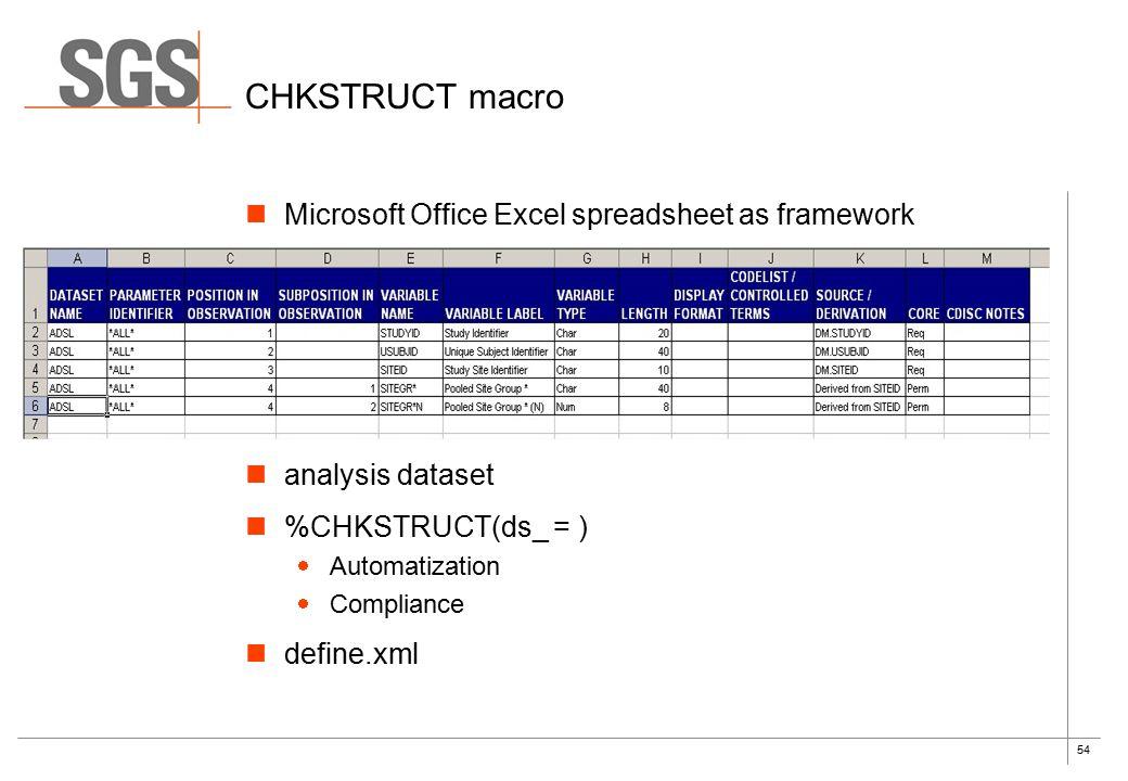 54 CHKSTRUCT macro Microsoft Office Excel spreadsheet as framework analysis dataset %CHKSTRUCT(ds_ = )  Automatization  Compliance define.xml