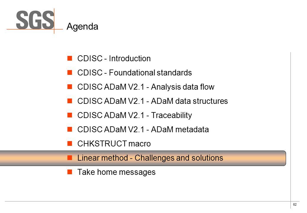 62 Agenda CDISC - Introduction CDISC - Foundational standards CDISC ADaM V2.1 - Analysis data flow CDISC ADaM V2.1 - ADaM data structures CDISC ADaM V