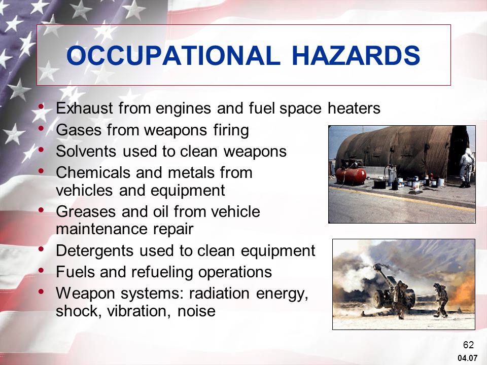 04.07 61 TOXIC INDUSTRIAL CHEMICALS / MATERIALS Personnel deployed in support of missions ranging from war to operations other than war may be exposed to harmful chemicals as a result of industrial accidents, sabotage, or the intentional or unintentional actions of enemy or friendly forces.