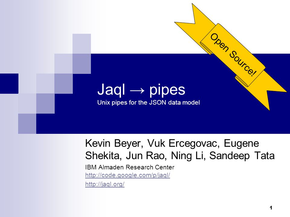 2 Goals for Jaql Provide a simple, yet powerful language to manipulate semi- structured data.
