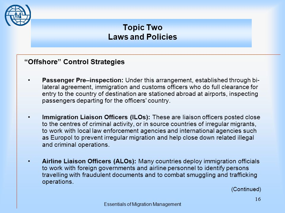 "Essentials of Migration Management 16 Topic Two Laws and Policies ""Offshore"" Control Strategies Passenger Pre–inspection: Under this arrangement, esta"